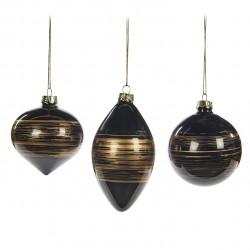 Závěsná dekorace - koule s vodorovnými pruhy, černá, zlatá