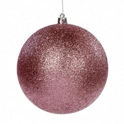 Závěsná dekorace - třpytivá koule, světlé řůžová
