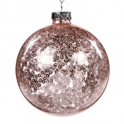 Závěsná dekorace - koule s flitry uvnitř, světle růžová
