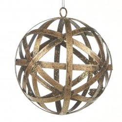 Závěsná dekorace - kovová koule, metalická, děrovaná