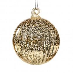 Závěsná dekorace - koule s pruhy, antik dekor, champagne
