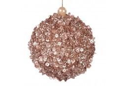 Závěsná dekorace - koule zdobená flitry a perlou, růžová